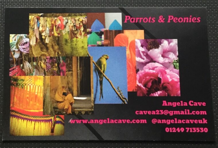 parrots and peonies business card